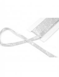 Ruban en satin avec cœur pailleté blanc 10 mm x 4 m
