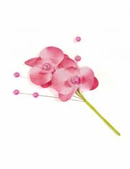 3 Fausses fleurs Orchidée sur tige avec perles fuchsia 11 cm
