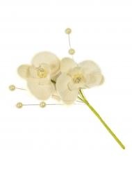 3 Fausses fleurs Orchidée sur tige avec perles ivoire 11 cm
