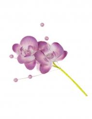 3 Fausses fleurs Orchidée sur tige avec perles parme 11 cm