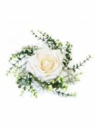 Centre de table rose et feuillage ivoire 18 cm