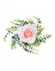 Centre de table rose et feuillage rose 18 cm