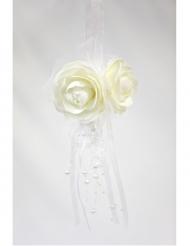 Suspension boule de roses blanches avec perles 44 x 11 cm