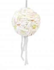 Suspension boule de pétales de rose avec rubans ivoire 16 cm