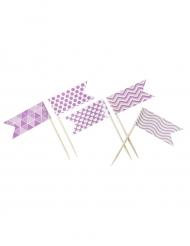 10 Mini-drapeaux fantaisie rose 2,8 x 5 x 8 cm