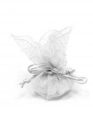 6 Sachets ronds organza blanc 24 cm