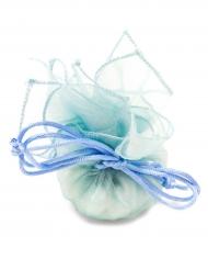 6 Sachets ronds organza bleu 24 cm