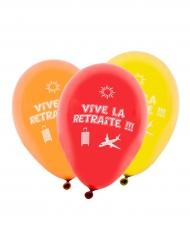 8 Ballons imprimés Vive la Retraite multicolore 31 x 22 cm