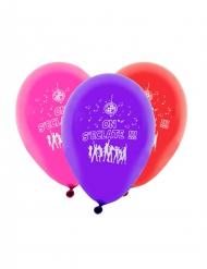 8 Ballons imprimés On s'éclate multicolore 31 x 22 cm