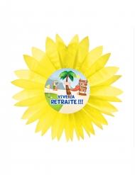 Eventail en papier Vive la Retraite jaune 50 cm