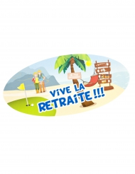 4 Stickers repositionnable Vive la Retraite 23 x 11 cm