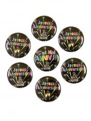 7 Badges en métal Joyeux anniversaire Chic noir