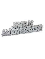 Décoration de table Joyeux Anniversaire pailleté argenté 12 x 3,8 x 0,8 cm