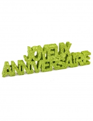 Décoration de table Joyeux Anniversaire pailleté vert 12 x 3,8 x 0,8 cm
