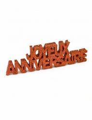 Décoration de table Joyeux Anniversaire pailleté rouge 12 x 3,8 x 0,8 cm