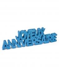 Décoration de table Joyeux Anniversaire pailleté turquoise 12 x 3,8 x 0,8 cm