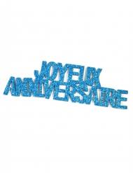6 Autocollants pailletés Joyeux Anniversaire turquoise 12 x 4 cm