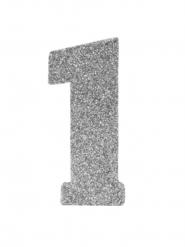 Chiffre 1 en argent pailleté 6 cm