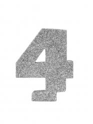 Chiffre 4 en argent pailleté 6 cm
