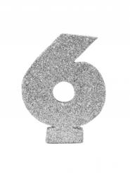 Chiffre 6 en argent pailleté 6 cm