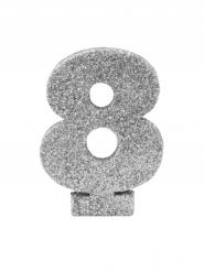 Chiffre 8 en argent pailleté 6 cm