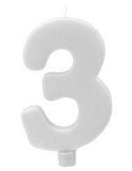 Bougie géante chiffre 3 sur pique blanc 13,5 x 8 cm