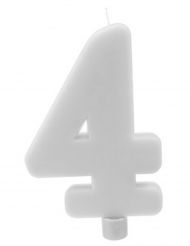 Bougie géante chiffre 4 sur pique blanc 13,5 x 8 cm