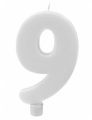 Bougie géante chiffre 9 sur pique blanc 13,5 x 8 cm