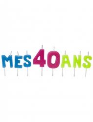 Bougies lettres Mes 40 ans sur pique 2,5 et 3,5 cm