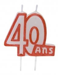 Bougie 40 ans blanc contour rouge sur pique 7 x 6 cm