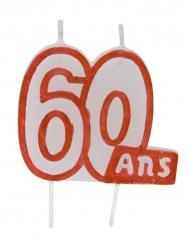 Bougie 60 ans blanc contour rouge sur pique 7 x 6 cm