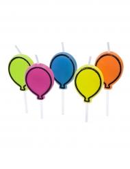 5 Bougies en forme de Ballon multicolore sur pique 3,3 x 2,5 cm