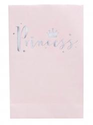 8 Sacs cadeaux Princess rose et gris pailleté 12 x 19 x 5 cm