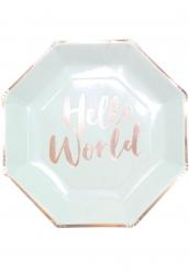 8 Assiettes en carton Hello World menthe et rose gold 23 cm