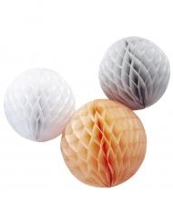 3 Boules alvéolées blanche, pêche et gris 30 et 25 cm
