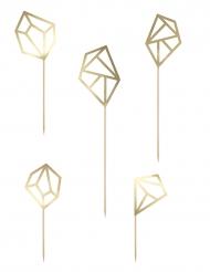 5 Décorations pour gâteau Diamant origami doré métallique 24,5 cm
