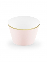 6 Habillages à cupcake rose poudré et doré métallique 4,8 x 7,6 x 4,6 cm