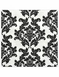 20 Serviettes en papier Baroque noir et blanc 33 x 33 cm