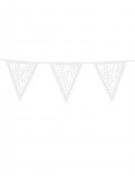 Guirlande fanions en papier blanc effet fleurs 3 m