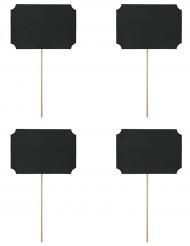 4 Petites cartes noires sur pique 11 x 8 cm