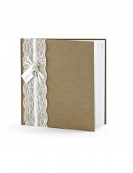 Livre d'or Kraft avec dentelle 22 pages 20,5 x 20,5 cm