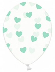 6 Ballons transparents avec cœurs verts 30 cm