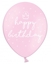 6 Ballons en latex Happy Birthday roses 30 cm
