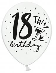 6 Ballons en latex blanc et noir 18th Birthday 30 cm