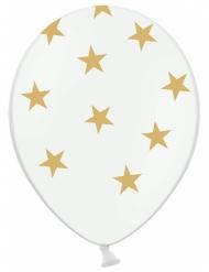 6 Ballons blancs avec étoiles dorées 30 cm