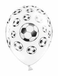 6 Ballons blancs avec Ballons de Foot 30 cm