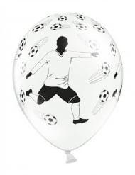 6 Ballons en latex blancs avec Joueur de Foot et ballons 30 cm