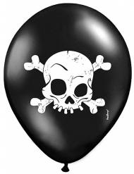 6 Ballons noirs avec Crâne 30 cm