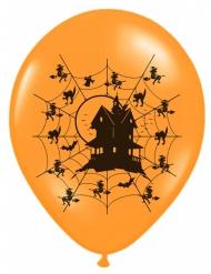 6 Ballons oranges avec Maison hantée 30 cm