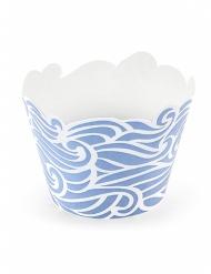 6 Caissettes à cupcake bleu effet vagues 7,5 x 5,5 cm